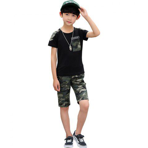 Boy Summer Fashion Trend Camouflage T-shirt Shorts Set - BLACK 7 - 8 YEARS