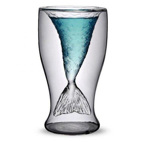 Clear Fishtail Double Wall Heat-proof Vodka Cocktail Wine Cup Bar Party Crystal Transparent Mermaid Shot Glassware - TRANSPARENT