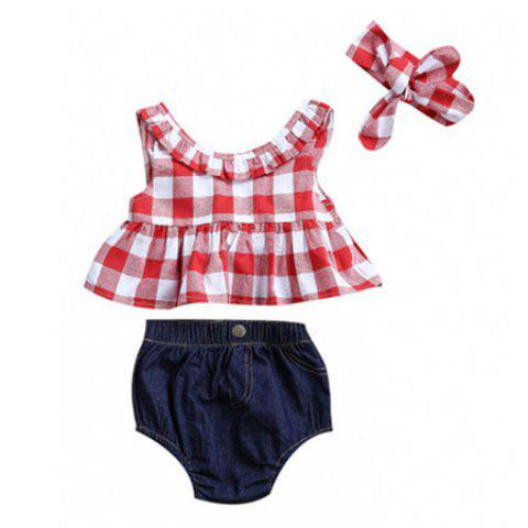 Girl Bow Plaid Split Suit - RED 0-6MONTHS(70)