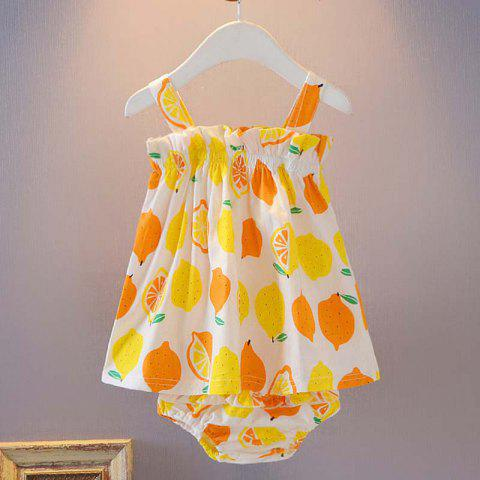 Fruit Print Strapless Sling Wrap Skirt + Triangle Shorts Baby Two-Piece Set - SUN YELLOW 12-18MONTHS ( 100 )