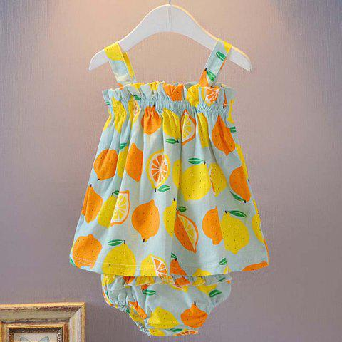 Fruit Print Strapless Sling Wrap Skirt + Triangle Shorts Baby Two-Piece Set - PALE BLUE LILY 6-12MONTHS(90)