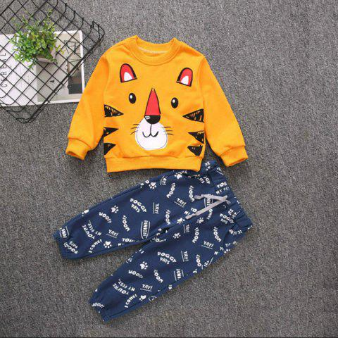 Boy Cute Tiger Print Top + Personality Letter Print Tie Trouser Suit - multicolor A 1-2YEARS(90)