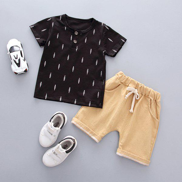 Soft Material / Breathable Wearing Boy Short Sleeve Suit - BLACK 12-18MONTHS( 100 )