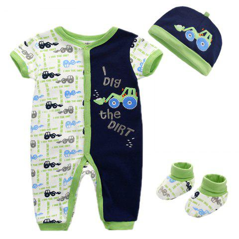 KIDDIEZOOM Baby Girl's Jumpsuit Hat Socks Suit Cartoon Motifs - MIDNIGHT BLUE 6 - 9 MONTHS