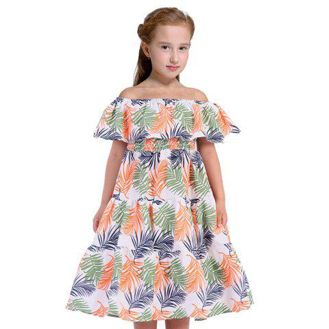 Duokipolla Leaf Pattern Off Shoulder Dress Bohemian Style - multicolor A 5-6YEAR(120)