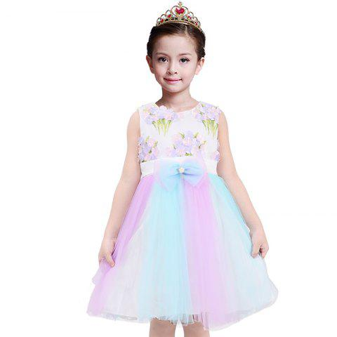 Duokipolla Girls Dress 3D broderie fleurs jupe en maille couture arc en ciel - multicolor A 4-5YEAR(120)