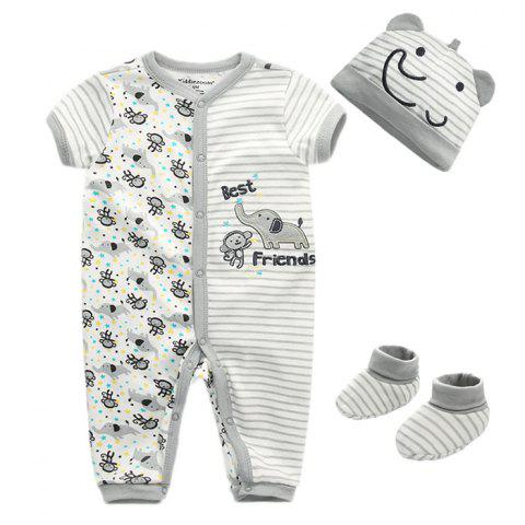 KIDDIEZOOM Soft Material / Breathable Girl Jumpsuit Baby Suit - GRAY GOOSE 3 - 6 MONTHS