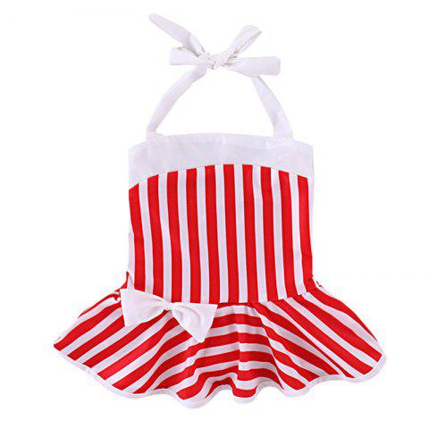 YBB - S1 Fashionable Striped Bow Swimsuit - RED 3 - 4 YEARS