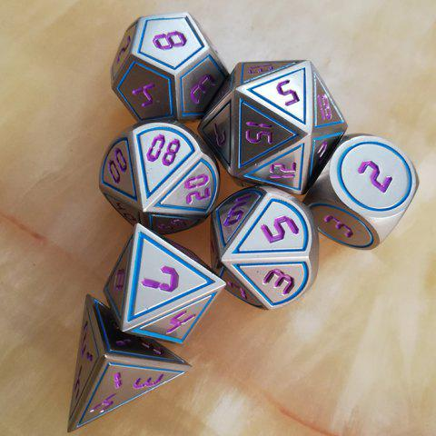 Dungeon DND Game Auxiliary Props Metal Dice 7pcs - multicolor A 7PCS