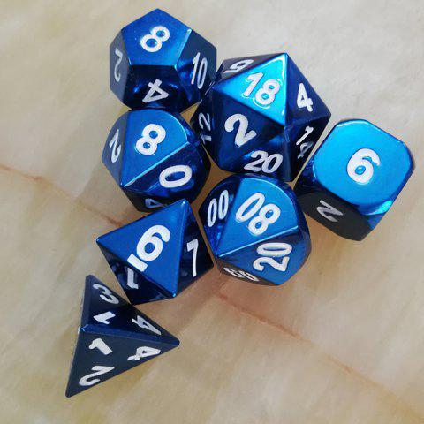 Classic Game Props Metal Dice 7pcs - BLUEBERRY BLUE