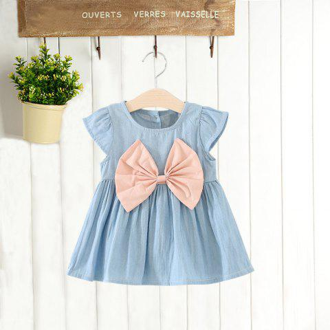 MAIDUOBAO Girl's Solid Color Bow Denim Dress - LIGHT PINK 12-18MONTHS(110)