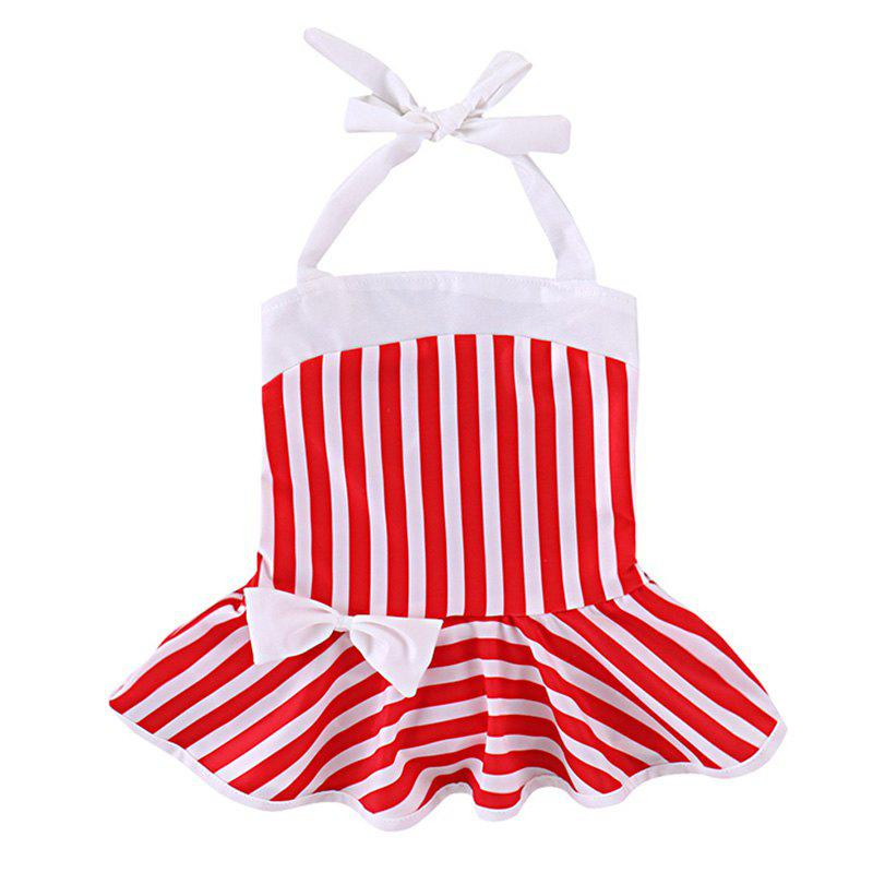 YBB - S1 Fashionable Striped Bow Swimsuit - RED 2 - 3 YEARS