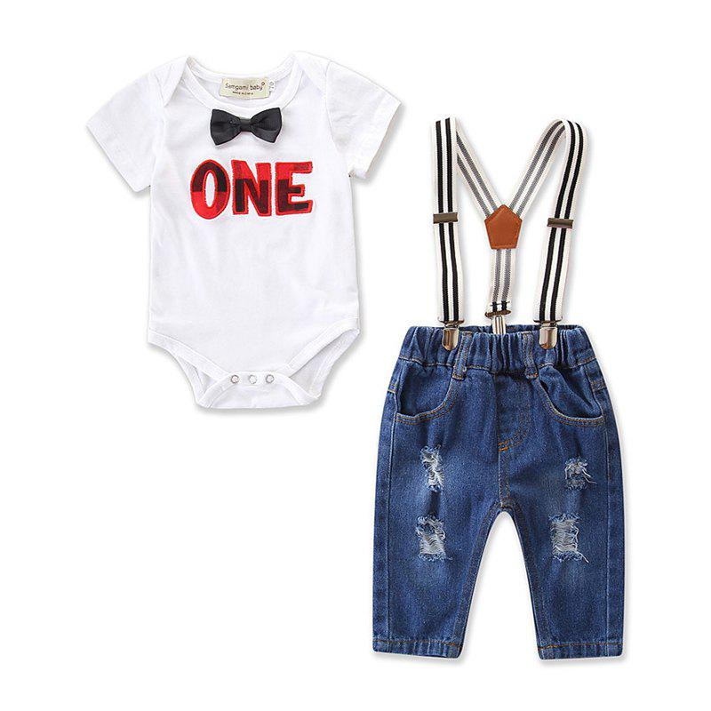18064 Fashion Letter Embroidered Long Sleeve Set - WHITE 9 - 12 MONTHS