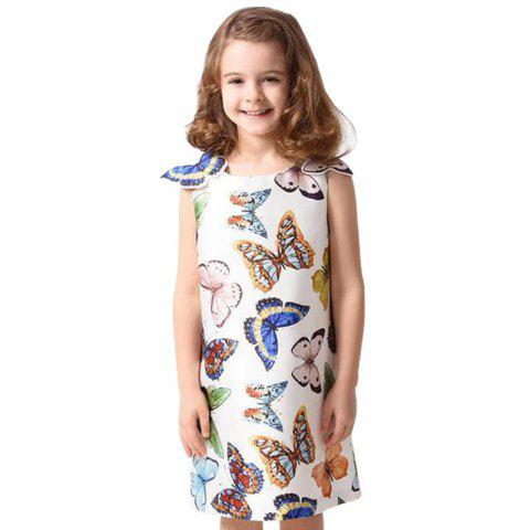 Duokipolla Girls Butterfly Tank Dress - WHITE 9-10YEAR(140)