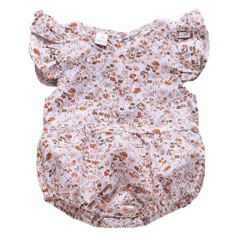 Little Girl Summer Dress Comfortable Button Romper - WHITE 90 (12-18M)