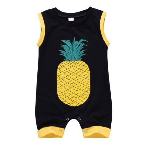 Boy Cartoon Cute Pineapple Print Sleeveless Romper - BLACK 90 (12-18M)