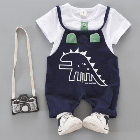Male Baby Summer Cotton Dinosaur Pattern Bib Set - MACAW BLUE GREEN 12-18MONTHS(100L)