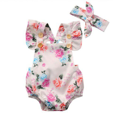 GG223 Girl Printed One-piece Garment with Headband - PIG PINK 6-12MONTHS(80)