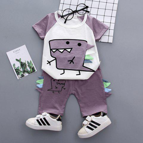 Boy Summer Cute Dinosaur Cartoon Cotton T-shirt Set - VELVET MAROON 12-18MONTHS(100)