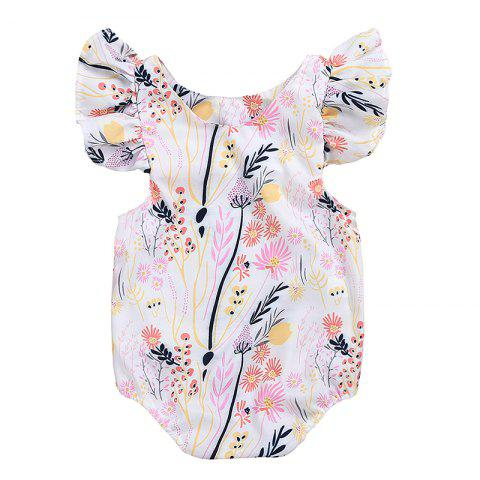 a06a610d026be Ruffled Lotus Leaf Sleeve Printed Floral Triangle Baby Onesie - LIGHT PINK  12-18MONTHS(