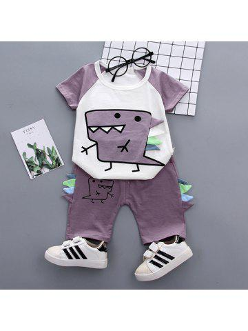 94a432e1ae Boy Summer Cute Dinosaur Cartoon Cotton T-shirt Set