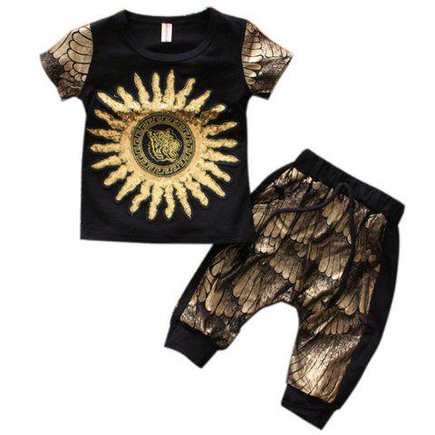 Little Boy Golden Sunflower Stylish Short Sleeve Set - BLACK 18 - 24 MONTHS