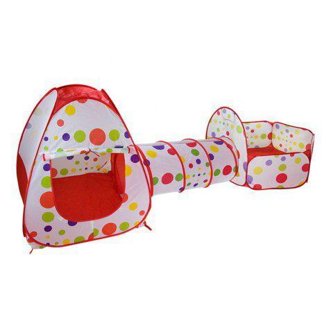 3-in-1 Portable Indoor Outdoor Toy Children Crawl Tunnel Set Baby Toddlers Play House Tent Kids Gifts - RED