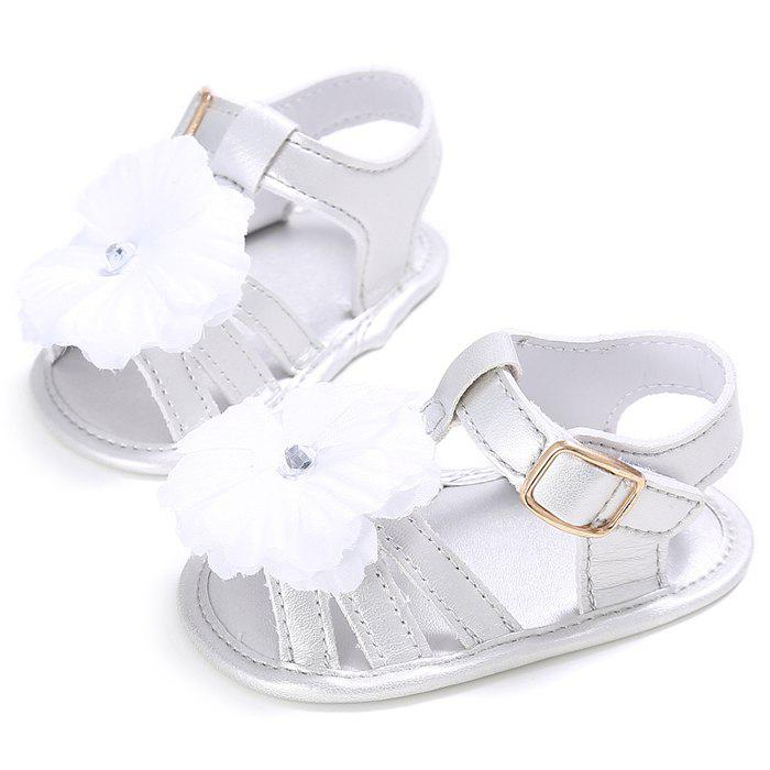 912 Baby Casual Soft Sole Girls Flower Decoration Anti-slip Toddler Shoes for 0 - 1 Years Old - SILVER EU 23