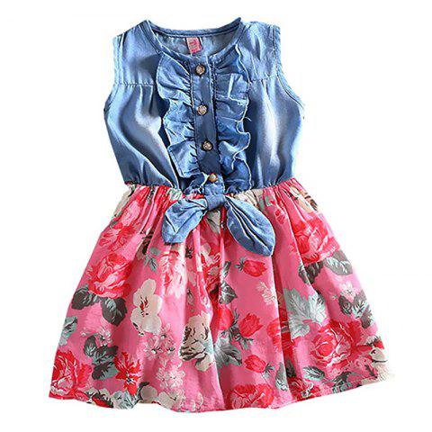 Girls Sleeve Cutting Jean Flower Printed Dress Summer Children Cake Skirt - RED 8 - 10YEAR(160)