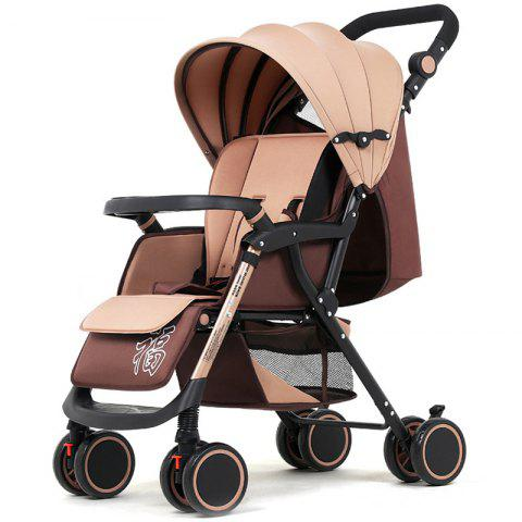 wisesonle A6 Color Tube Reclining Folding Lightweight High Landscape Cart Multifunction Shock Absorber Baby Stroller - COOKIE BROWN