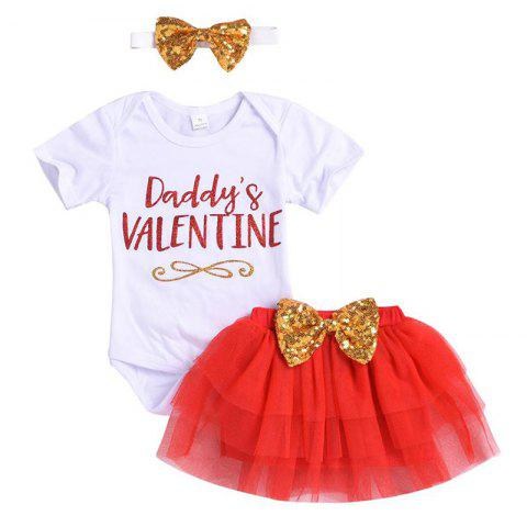 Baby Romper Sequined Bow Bubble Skirt Suit - WHITE 70CM(3-9M)