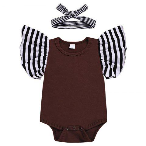 Short-sleeved Baby Romper with Headband - COFFEE 80 (9-12M)