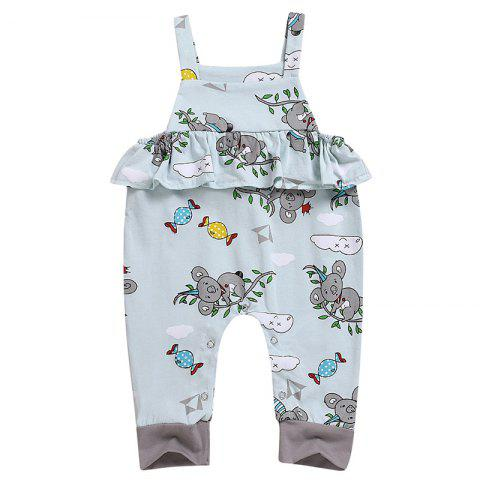 Cartoon Animal Cute Print Sling Jumpsuit - CELESTE 80 (9-12M)