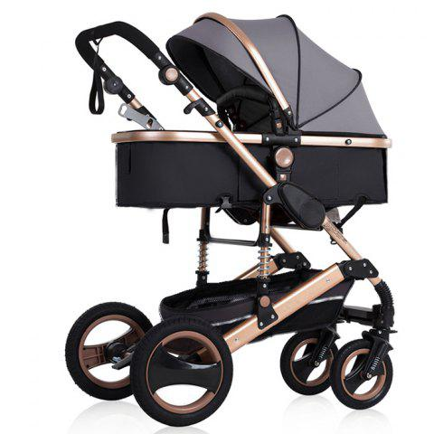 wisesonle 739 Lightweight High Landscape Pram Cart Shock Absorber Baby Stroller - BATTLESHIP GRAY