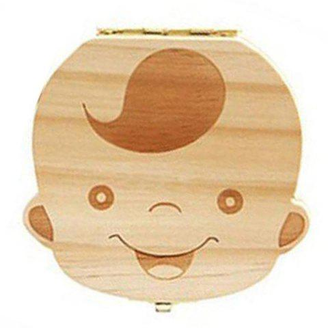Wooden Baby Teeth Lanugo Umbilical Cord Collection Box Infant Souvenir - BURLYWOOD BOY