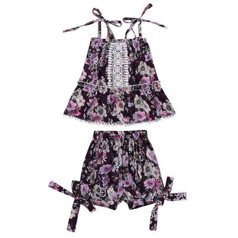 Girl's Floral Print Top Shorts Set Retro Style - VIOLA PURPLE 3-4YEARS(110)