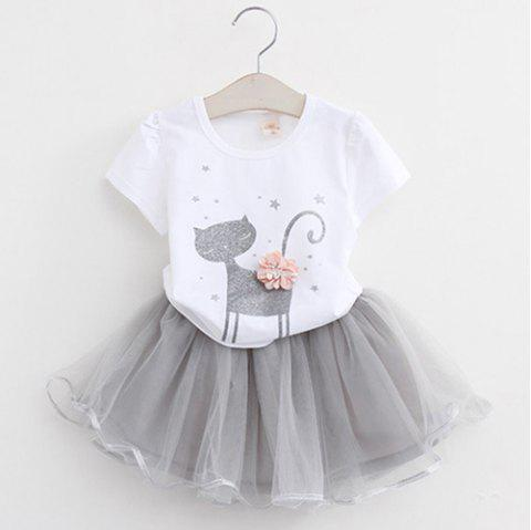 MAIDUOBAO Girl 3D Print Two-piece T-shirt and Dress Suit - WHITE 1--2YEAR(90)