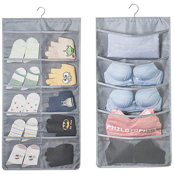 Double-sided Multigrid Underwear Storage Hanging Bag - GRAY 30