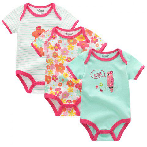 FETCHMOUS BDS3 Newborn Baby Summer Jumpsuit Short Sleeve Small Animal Pattern Dress Suit 3PCS - multicolor F 3 - 6 MONTHS