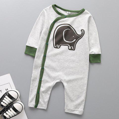 Long-sleeved Cotton Infant Romper - GRAY 3-9MONTH(80)
