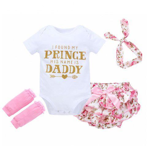 Baby Letter Print Romper Four Cloth Sets - WHITE 1YEAR(80)