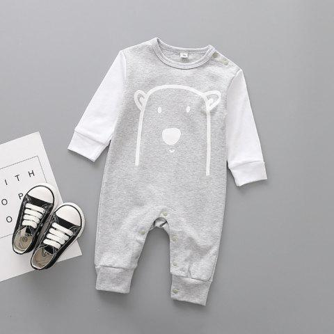 Long-sleeved Cotton One-piece Baby Romper - GRAY 3-9MONTH(80)