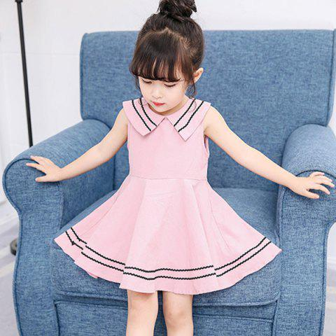 MAIDUOBAO Girl's Dress Cotton Sleeveless College Navy Style - PINK 5 - 6YEAR(130)