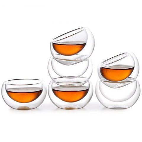 50ml Heat Resistant Glass Double-layer Anti-hot Small Cups Mini Transparent Cup 6pcs - TRANSPARENT