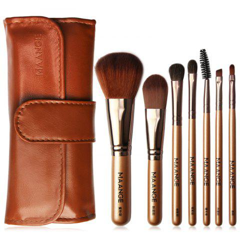 MAANGE MAG5767 Beauty Portable Makeup Brush with Bag 7pcs - CHESTNUT RED