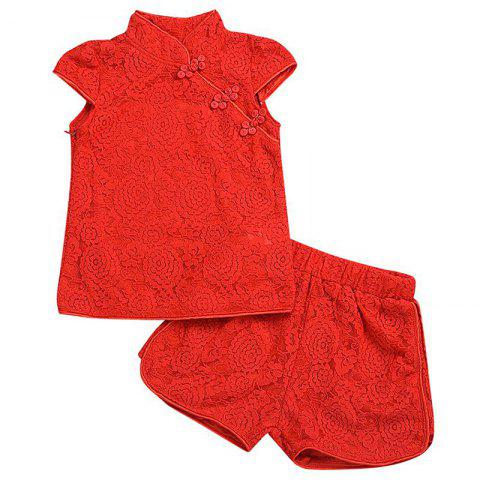 Girls' T-shirt Shorts Two-Piece Set Cheongsam Style Lace Motifs - LAVA RED #9(3-4Y)