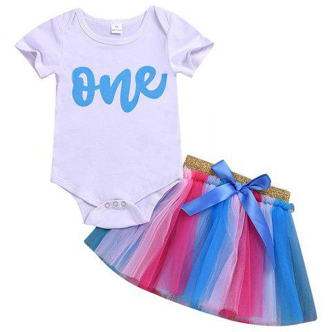 Girls' Two-Piece Set Short Sleeves T-shirt Mesh Colorful Skirt - WHITE 90 CM(12-18M)