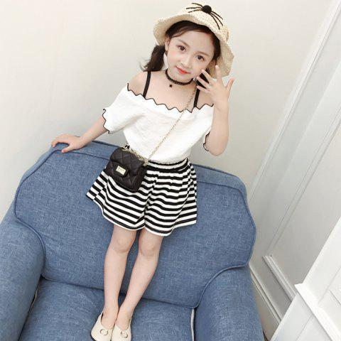 Q20 - 2 Off Shoulder Short Sleeve Stripe Shorts Suit for Girls - WHITE 8 - 9 YEARS