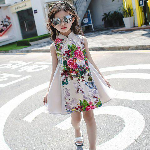 CB - 1741 Stand Collar Chinese Style Dress for Girls - APRICOT 9 - 10 YEARS