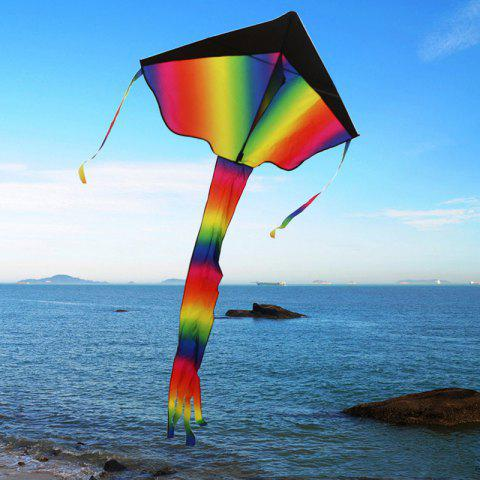 Children Outdoor Huge Kite Blackhead Gradient Rainbow Triangle Long Tail with 100m Line Board - multicolor